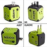 Universellen Reise-Adapter mit Doppel USB-Ports aus 150 Ländern weltweit US UK EU AU Universal fusionierten Sicherheit AC-in einem Ladegerät (Grün)