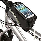 Roswheel Radfahren Mountain Bike Fahrradrahmen Tasche Rahmentasche Oberrohrtasche Handytasche mit transparentem PVC-Fenster für Handys Größe S / M / L (Green, M)