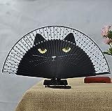 Tesan Damen Handfächer Fächer Sommer süße Katze Seide Bambus Hand Fan Falten-schwarz