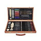 FLOWood 58 Stück Bleistift Zeichnen Set, Skizzierstifte Set und Zeichnen Professionelle Art Set mit Hochwertiger Malkoffer, Zeichnen für Anfänger, Künstler, Kinder (Art Set Box)