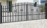 SO2 Einfahrtstor Hoftor Doppelflügeltor Gartentor Bellevue mit Riegelset 300 x 150 cm Komplett-Set inklusive 2 Torelementen, 2 Stahlpfosten und Beschlägen. Gesamtbreite ist ca. 321 cm