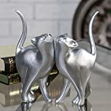 Casablanca 79564 Dekofigur - Katze 'Minka' - Polyresin - Farbe: Silber - Höhe 23cm - 1 Stück