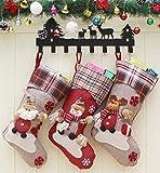 Cozywind 3er Set Weihnachtsstrumpf Weihnachtsmannsack Nikolaussack Nikolausstiefel zum Befüllen Weihnachtsdekoration