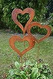 Gartenstecker Set Herzen 3 x 60cm Metall Rost Gartendeko Edelrost