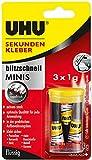 UHU 45415 Sekundenkleber Blitzschnell Minis flüssig (3 x 1g)