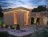Premium Gartensauna Fagus von Isidor mit Elektro- Saunaofen Irmina Slimline mit 9 kW Heizleistung und externer Steuerung für den Außenbereich; 4,1m² großem Saunaraum inkl. Sauna-Innenausstattung auf insgesamt 8,2 m² Gebäudefläche