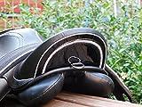 Ledersattel Monoblatt Sattel 12 14 Zoll Minishetty Shetty Leder + Glitzer + Lack Dressursattel Ponysattel Strass (15 Zoll, Schwarz Weiß)