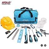 Apollo 15-teiliges Kinder-Werkzeugset mit echten Handwerkzeugen, einschließlich Sicherheitbrille und Spielzeughelm – Alles in einer praktischen Aufbewahrungstasche