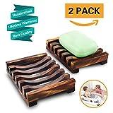 2Pcs Seifenschale Holz Dusche, Bambus Seifen Form Halter Bad Waschbecken Deck Seifenhalterung, Natürliche Seifenkiste Seifen Box Für Schwämme Scrubber Seife