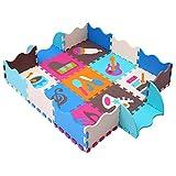 MQIAOHAM Schaum-Puzzlespiel-Spiel-Matte mit Grenzen Kinderfarben-sicherer Baby-Spielplatz-weiche gepolsterte Boden-Schutz-Qualitäts-Eva-Schaum-verriegelnde Fliesen ungiftig P009B3010