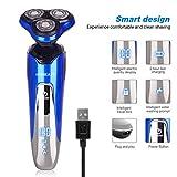 Wasserdichte Elektrorasierer von HOMEASY Nass- und Trockenrasierer Herrenrasierer USB Rasierapparat mit LED-Anzeige 4 in 1 Multifunktions Rotationsrasierer