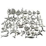ULTNICE 40 Stück DIY Basteln Charms Anhänger für Halskette Armband Marinetier