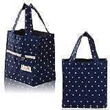 Tragetasche Tasche Einkaufstasche Lunchtasche Bag Wellen-Punkt wärmeisolierende, Kleine Mittagessen-Beutel- (blau)