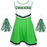 REDSTAR FANCY DRESS Damen Cheerleader Kostüm Outfit mit Pom Poms Halloween Kostüm American High School Musical Sport Verfügbar in den Größen 6-16 and 6 Farben - Schwarz, S