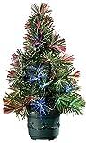 Lunartec Mini Weihnachtsbaum: LED-Weihnachtsbaum mit Glasfaser-Farbwechsler (Batteriebetriebene Mini Weihnachtsbäume)