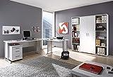 moebel-guenstig24.de Büromöbel-Set Office LINE Eckschreibtisch Rollcontainer Regalwand Büroeinrichtung weiß