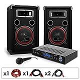 PA Komplettset'DJ-10' Karaoke PA-Anlage Verstärker 1000 Watt Lautsprecher-Boxen Set (inkl. Mikrofon, Fernbedienung, Kabelset) schwarz