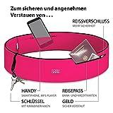 Formbelt Plus Sport-Bauchtasche mit Reißverschluss, Laufgürtel für Handy Smartphone, elastische Lauftasche iPhone 8 8 Plus X 7 Plus + Samsung Galaxy S-7 S8 Plus Reise-Hüfttasche (pink, XL)