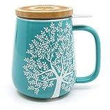 amapodo Teetasse mit Deckel und Sieb 650 ml - Geschenk, Porzellan Tasse groß, XXL Tasse Set Türkis für losen Tee