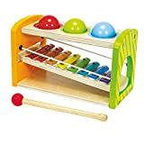 Eichhorn 100002233 - Eichhorn Color - Xylophon Klopfbank, 12,5x25x14 cm, 5 teilig, Xylophon separat Bespielbar, Holzspielzeug, ab 1 Jahr