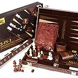Peradix Backgammon - Schachspiel Schach - Dame 3 in 1, 46.6x38.2 Großes Schachbrett, Lederner Koffer,Mehrweg