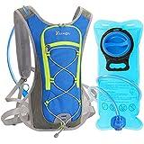 Trinkrucksack mit 2L Trinkblase, DeFe Ultralight Laufrucksack mit Trinksystem für Radsport, Laufen, Joggen, Wandern, Radfahren, Camping, Bergsteigen und Marathon (Blau)