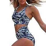 Loveso Damen Bikini Set Vintage Bademode Push Up Zweiteilig Sommer Sportliches Bademode Strand Bikini in Viele 9 Farben Zweiteiliger Bikini (Tank Top + Bikinihose)