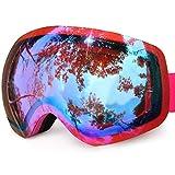 Karvipark Skibrille, Ski Snowboard Brille Brillenträger Schibrille Verspiegelt, Doppel-Objektiv OTG UV-Schutz Anti Fog Damen Herren Kinder für Skifahren Snowboard (Blau VLT28%)