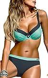OLIPHEE Damen Tribal Bikini Set Mit Bügel Brasilianische Gepolstert Bademode große größen Blau L