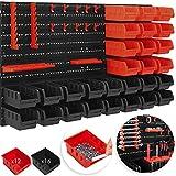 MASKO Wandregal + Stapelboxen + Werkzeughalter | 45 tlg Box | Erweiterbar | Werkstattregal Lagerregal Steckregal Set Box | Sichtlagerkästen | Kleinteilemagazin | Sortimentskasten | Werkstatt |