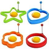 Joyoldelf 4 Stück Silikon Spiegeleiform - Herz, Stern, Kreis, Blume Eierformen mit verstellbarem Griff Perfekt für Pfannkuchen, Omelettes und Eier