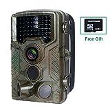 Wildkamera mit SD Karte 32GB, FLAGPOWER Wildkamera mit Bewegungsmelder 16MP 1080P Full HD Jagdkamera 20m Infrarote Nachtsichtkamera 120°Weitwinkel IP66 Wasserdichte Überwachungskamera mit 46 IR LEDs