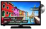 24 Zoll Smart TV mit DVD Spieler | Kombination mit DVD Player | Satellit DVB-T2 | Schwarz