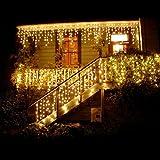 BUOCEANS 216 LED 5M Eisregen/Eiszapfen Lichter, LED Lichtervorhang Lichter, Weihnachtsdeko Weihnachtsbeleuchtung Deko Christmas INNEN und AUSSEN, LED String Licht (Warmes Weiß - 5M) [NEWEST]