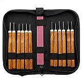 Schnitz- Holz- Messer-Set mit Hand- Stemmeisen (12 Stück mit Schleifstein) für professionelle Tischler
