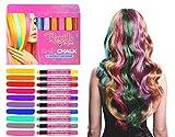 Stylische Haar Kreidestifte für Kinder - 10 helle und metallische Farben für die vorübergehende Färbung von schwarzen, blonden, braunen, roten Haarsträhnen für Mädchen