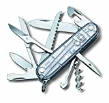 Victorinox Taschenmesser Huntsman (15 Funktionen, Schere, Holzsäge, Korkenzieher, Schraubendreher, Lebenslange Garantie) silber Transparent