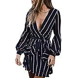 Harpily Damen Mode Langarm Casual Striped Rüschenkleid Blusenkleider Tunikakleid Druckkleider(Marine,XL)