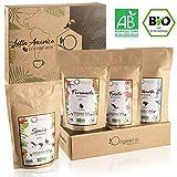BIO Kaffeebohnen Premium Probierset | Arabica Kaffee Ganze Bohnen Set 4x250g | Traditionelle Röstung | Säurearm | Geschenk-Idee