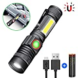 Karrong Taschenlampe LED Magnet USB Wiederaufladbar, Super Hell COB Arbeitsleuchte, 4 Modi Zoombar Taktische Wasserdicht Taschenlampen für Kinder Outdoor Camping Notfall (Inklusive 18650 Batterie)
