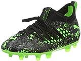Puma Unisex-Kinder Future 19.3 Netfit FG/AG Jr Fußballschuhe, Schwarz Black-Charcoal Gray-Green Gecko, 36 EU