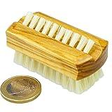 ROTIX Nagelbürste klein für die Reise helle Naturborste Olivenholz 6 x 3 cm