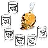 MVpower Totenkopf Whiskyglas Set 350ml Karaffe mit 6 Totenkopf Gläser 75ml Dekanter Schnapsglas Schädel Whisky Vodka Für Bar Party