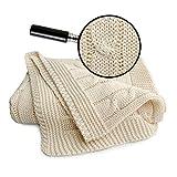 SonnenStrick 3009009 Babydecke / Kuscheldecke / Strickdecke 100 Prozent Bio Baumwolle mit Zopfmuster, creme
