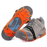 Songwin Schuhspikes Mit 10 Noppen,Schuhkralle,Kieselgel Anti Rutsch Eisspikes für Den Stiefel,Steigeisen. (Orange, XL)