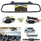 CZWXCD 4,3-Zoll-Rückspiegel-Monitor Auto-Rückfahrsystem Wireless Kfz-Kennzeichenhalter Auto-Kamera LED-Licht