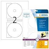 Herma 5115 CD-Etiketten blickdicht (ؘ 116 mm, Innenloch klein, auf DIN A4 Papier matt, weiß) 50 Stück auf 25 Blatt, Zentrierhilfe, bedruckbar