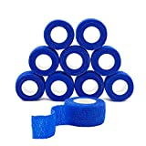 QiGui 10 Rollen Selbsthaftende Cohesive Bandage Haftbandage Verband Fixierverband elastische Binde Pflasterverband Fingerpflaster 2.5cm X 4.5m (Blau)