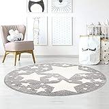 Taracarpet Kinderzimmer und Jugendzimmer Teppich Dreamland Kinderzimmerteppich Sterne grau Creme 120x120 cm rund