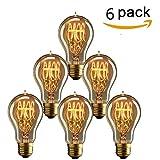 KINGSO 6 x Edison Vintage Glühbirne E27 40W A19 Dekorative Glühlampe Warmweiß Dimmbar Squirrel Cage Filament Kohlefadenlampe oder Deckenleuchte Ideal für Nostalgie und Retro Beleuchtung